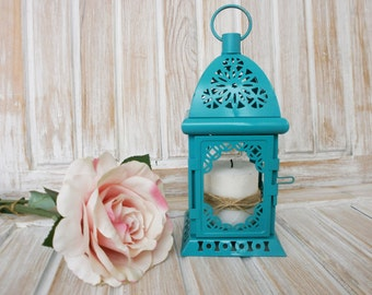 Turquoise Lantern Wedding Lantern Distressed Lantern Rustic Candle Holder Wedding Decor Centerpiece