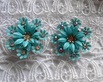 10% Discount Floral Coro Clip Earrings Turquoise White Rhinestones Vintage Jewelry Ladies Present