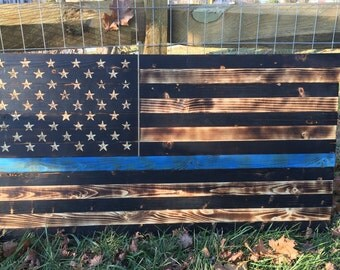 Thin Blue Line Wooden Flag, Police Flag, Police, Thin Blue Line, Blue, Charred, Burnt, Wooden Flag, United States Flag, US Flag, US Police