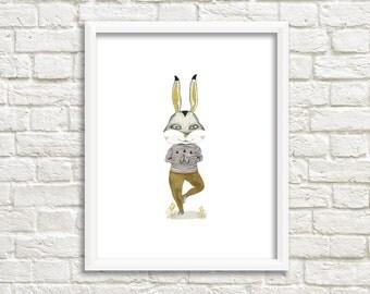Yoga Bunny Illustration, Art Print