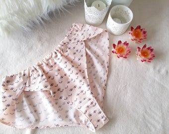 Pink Organic Cotton Panties, Pin Up Knickers, Retro Panties, Pastel Lingerie, Flirty Underwear, Organic Cotton Lingerie, Sizes XS-XL