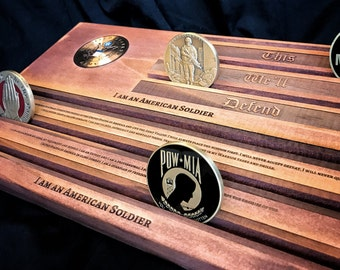 U.S. Army Coin Rack - Army American Solider Military Challenge Coin Display Holder - Solider's Creed - This We'll Defend - customizable - pe