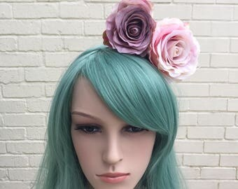 Rose Headband, Pink Rose Fascinator, Purple Rose Hair Accessory, Pink And Purple, Wedding Fascinator, Flower Headband, Pink Rose Headband