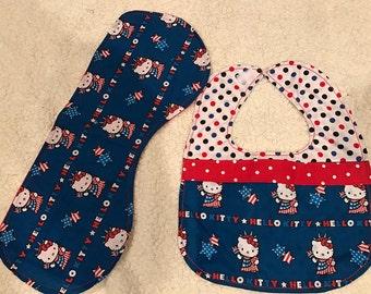 Hello Kitty Baby Bib and Burp Cloth