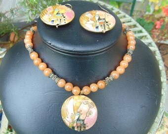 necklace, carnelian, 18 in with deco, free earrings with necklace