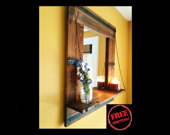 Large Mirror - FREE SHIPPING - Reclaimed Wood Mirror - Distressed Wood - Mirror Shelf - Rustic Mirror - Wooden Wall Mirror - Bookshelf -