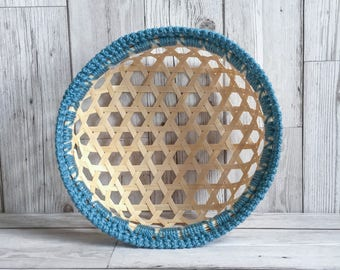 CROCHET BAMBOO BASKET - Handmade Crochet Trim Storage Desk Tidy Basket Tray Blue