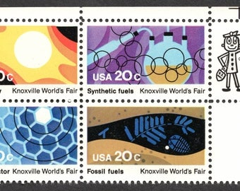 1982 Knoxville World's Fair Postage Stamps Unused Block