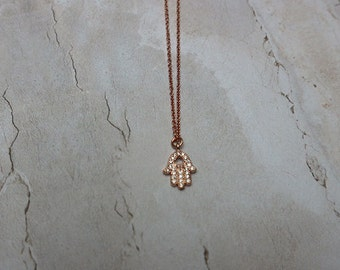 Rose Gold Hamsa Necklace | Minimal necklace, Gold Hamsa Pendant, Everyday Jewelry, Delicate Necklace, Hamsa Charm Necklace, Gift For Women