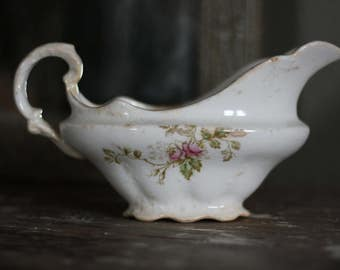 Vintage Gravy Boat with Great Wear and Crazing