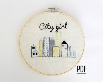 Embroidery Pattern, Modern Embroidery Pattern, PDF Download, Printable Stitching Pattern, Urban Embroidery Pattern, Hand Embroidery Pattern