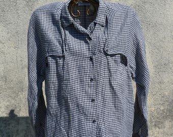 CACHAREL vintage 80S gingham shirt black and white size M