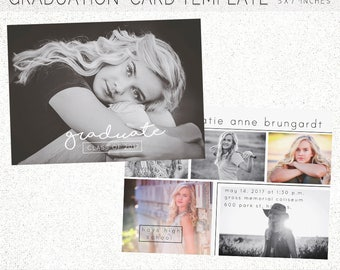 GRADUATION CARD TEMPLATE, Senior Announcement, Graduation, Senior, Senior Invitation, 5X7 Photoshop Template, Instant Download