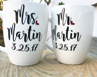 Engagement gift, engagement gif for best friend, engagement gift for  couples, his and hers mugs, anniversary gift, his and hers