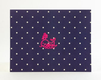 Baby Whale Greeting Card, Embossed Nautical Polka Dot - 3 Pack