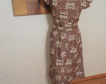SALE Vintage Square Neck Midi Dress - Cave Paint Design