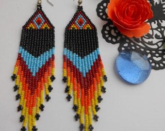 Native American earrings Beaded earrings Dangle earrings Boho Fringe earrings Beadwork jewelry Ethnic style long earrings Indian style