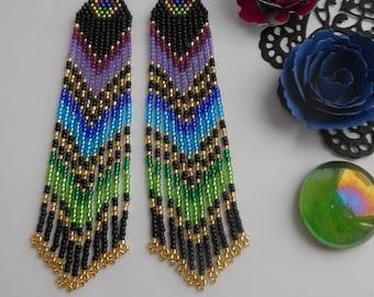Extra long earrings  Beaded earrings Black earrings Seed beaded jewelry Fringe earrings Very long earrings Handmade earrings Gift for her