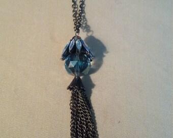 Oxidized Brass Tassel Necklace
