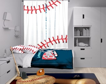 Baseball Window Curtain Valance Stitches Theme Bedroom