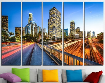 Large Los Angeles Wall Art Canvas Set Los Angeles Skyline Los Angeles Photo Print Los Angeles Wall Decor Los Angeles Poster Los Angeles City