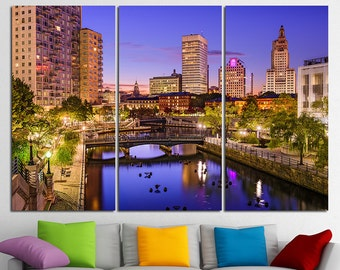 Providence Rhode Island Providence Canvas Providence Downtown Providence Wall Art Providence Art Providence skyline Providence Print