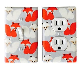 Fox Light Switch Plate -  Kaufman  Woodland Pals Fox  Switch Cover - Bedroom Switch Plate -Red Fox Outlet Cover - Grey,Red  Nursery Room