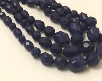 Vintage Navy Blue Multi Strand Necklace
