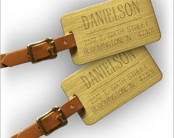 Personalized Large Engraved Brass Luggage Tags - Set of 2 - 6635