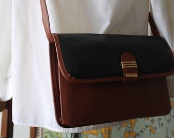 Vintage black and brown leather Sling bag
