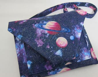 Large Crossbody Purse featuring The Galaxy with Sparkling Stars