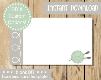Diy business cards for crafters vinyl creations and more blank diy business card mint knitting do it yourself business card blank card solutioingenieria Gallery