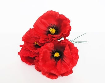 "SALE 10 Red Poppies Artificial Flowers Silk Poppy 4.3"" Flower Wedding Anemones Supplies Faux Fake Anemone"