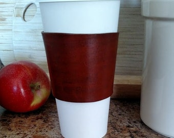 Leather coffee cozy, coffee cozy, leather coffee cup holder, coffee cup holder, coffee cup sleeve, b