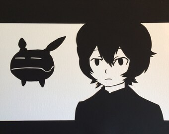 Yuma Kuga & Replica // World Trigger // handcut paper art // framed