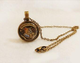 Harry Potter Hogwarts Crest cabochon necklace