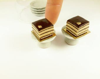 Miniature chocolate cake, dollhouse cake, Opera cake,realistic cake,  dollhouse miniatures, miniature food, dollhouse food, 1:12 scale