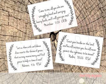 Scripture Cards, Printable Bible Verse Cards, 8 Verses, Sized 3.5x5 inches, Open Wreath, Digital Printable