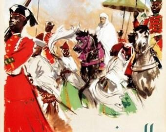Vintage Rabat Morocco Tourism Poster  A3 Print