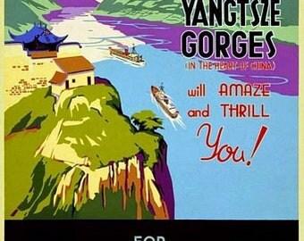 Vintage Yangtsze Gorges China Cruises Tourism Poster A3 Print