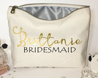 Bridesmaids' Cosmetic bag- Gifts for bridesmaid- Wedding favors- Bridal party bags- Zipper pouches.
