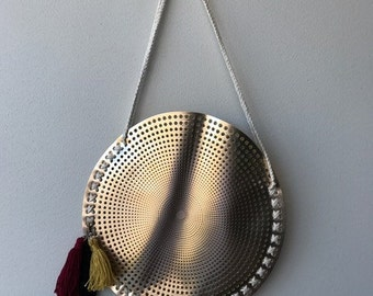 ON SALE 50% OFF Round Gold Beach Bag. Gold Handbag. Tassel Keyring