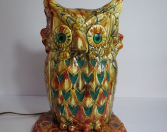 Gloriously Groovy 1970s Ceramic Owl Lamp