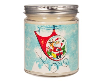 Mid Century Christmas Candle, Holiday Candle, Scented Candle, Vintage Candle, Container Candle, Soy Candle, Christmas Candle, Holiday Decor