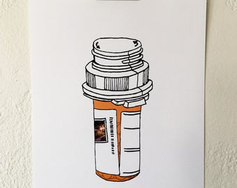 pill bottle print orange - 8x10 inches