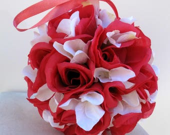 Wedding flower ball, Flower girl pomander, Pink kissing ball, Wedding decorations, Hot pink and white
