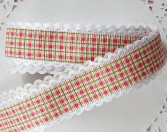 Red and Green Gingham Ribbon With White Fringing