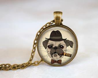 Bronze Pug Keychain Brown Dog Necklace - Bronze Pug Necklace Glass Pendant - Dog In Suit Necklace Brown Pug Keychain Accessory - Dog Pug