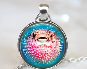 Pink Pufferfish Necklace Fish Jewelry - Cute Puffer Fish Necklace - Ocean Animal Necklace Ocean Jewelry - Pink Animal Jewelry Pink Necklace