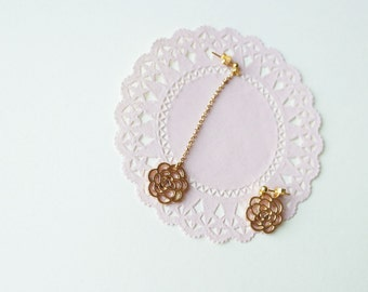 Unbalanced Rose Earrings | Gold colored Rose Earrings | Rose Dangle & Drop Earrings | Daily Earrings